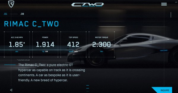 Rimac Automobili C_Two hypercar — A car alive with technology.