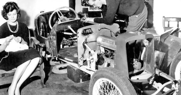 Cohobbytation: Knitting and Vintage Racing Car Rebuild in the Parlor