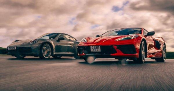 New Corvette Stingray C8 v Porsche 911 video review: USA's hottest v Europe's best | Autocar